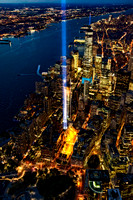 911 Tribute In Light NYC Aerial View